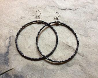 Big hematite grey hoops, big seed beads earrings, metallic grey beaded hoops, hypoallergenic hooks, 3.5 inches