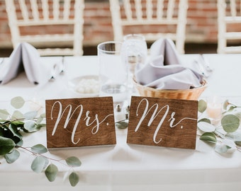 Mr and Mrs Signs, Standing - Wooden Wedding Signs - Wood