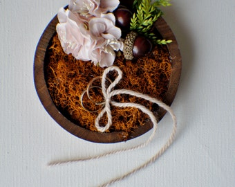 Ring bearer pillow, Rustic ring box, Wedding ring box, Rustic wedding ring bearer, Moss box, Woodland ring holder