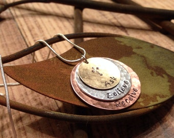 Ask Believe Receive / Hand Stamped Necklace / Mixed Metals