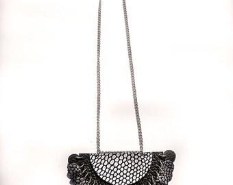 Leather Anniversary Gift, Handmade Black Leather Necklace, Leather Necklace, Women's Leather Jewelry,  Romantic Necklace, Romantic gift