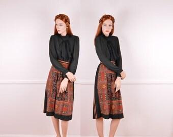 Vintage Black Scarf Print A-Line Skirt