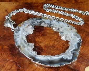 Large Geode Necklace - Druzy Crystal Slice Pendant - Silver Plated Gemstone Jewelry (T19F) Natural Stone Cut Geodes Raw Crystals Gemstones