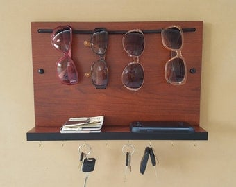 Sunglass Rack, Organizer, Key Holder and Shelf, Custom Combo Sunglass Sling,  Pionite Yorkshire Cherry laminate