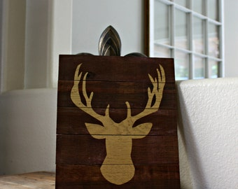 "Reclaimed Rustic Wood Stag Sign 10""x12"""