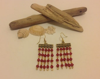 Vintage Style Ruby Red Gold Beaded Chandelier Dangly Earrings