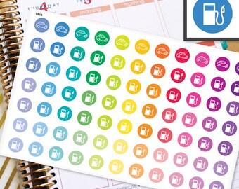 Gas Planner Stickers Erin Condren Life Planner (ECLP) - 77 Gas Pump Car Milage Dots Half Inch Stickers (#5016)