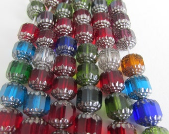 Multi Color Cathedral Czech Glass Beads - 10mm - 20 Pieces
