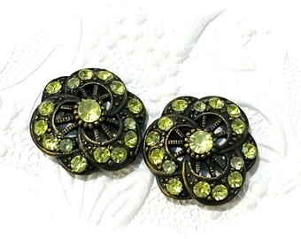 Brass Rhinestone Buttons 2 Pale Lime Rhinestone Sewing Supplies RB-252