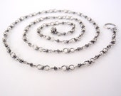 60cm Sterling Silver Chain ~ 24 inch ~ Handmade Chain ~ Antiqued Eco-Friendly Recycled Sterling Silver ~ Oxidised ~ Wire Wrapped Loops