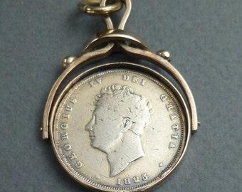 14 K frame George IV coin 1825