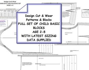 Toddler & Child Blocks Set - Age 2 - 8 Drafted Using The Latest UK Sizing Data-