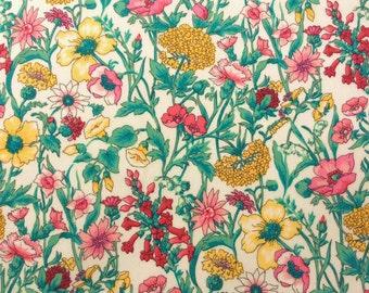 "Rachel B Liberty Fabric fat quarter 18"" x 26.5"" (45 cm x 67 cm) white yellow pink red The Weavers Mill"