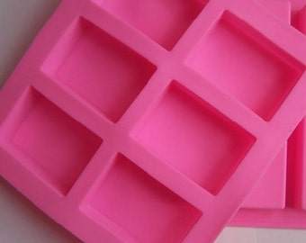 6-Cavity Plain Rectangle Soap Mold Silicone