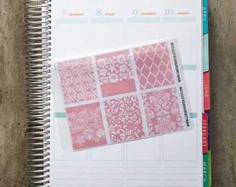 9 full box sticker, pink lace square sticker, planner stickers, scrapbook reminder, geometric floral rose