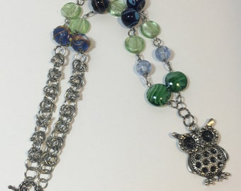 Life is a hoot- owl necklace- glass beads- chainmail