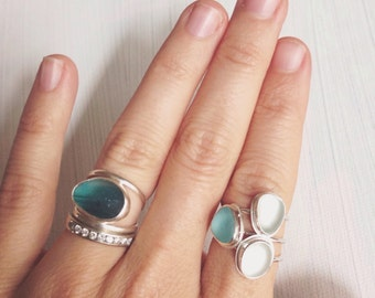 Genuine Sea Glass Ring - White OR Aqua Blue Sea Glass in Sterling Silver Ring - Mermaid Bubbles Stackable Sea Glass Rings