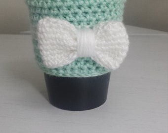 The ~Little Gift~ Cozy, Cup Cozy, Tea Cozy, Coffee Cozy, Coffee Sleeve ~shown in robins egg with white bow~