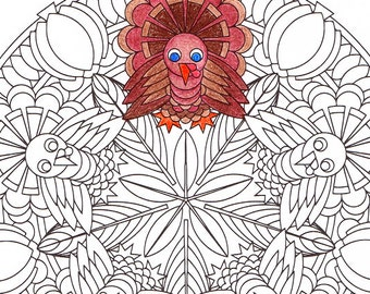 Thanksgiving Mandala Coloring Page Autumn Harvest