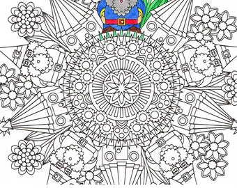 Mandala Coloring Page - The Gnomes' Homes - instant download mandala art all-ages coloring page; rainy day and under the weather activity
