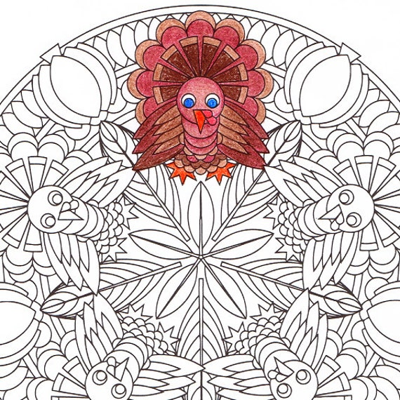Thanksgiving Mandala Coloring Page Turkey Time printable
