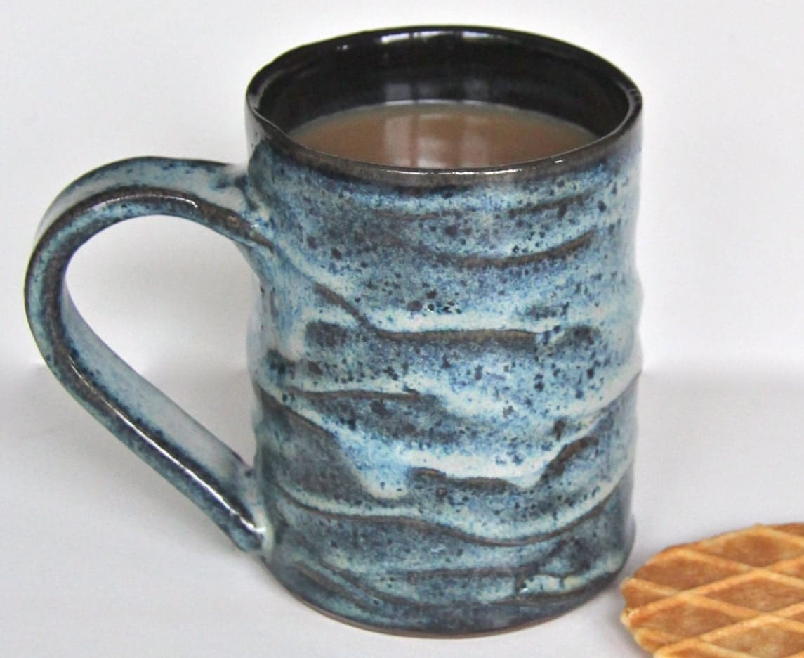 Pottery coffee mug blue handmade ceramic mug slip