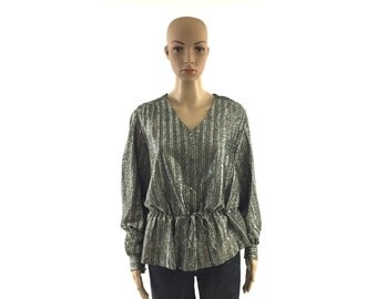 Vintage Silver Metallic and Black Blouse