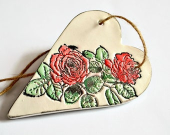 Shabby chic decoration, Thank you gift, Hanging heart with rose print, Appreciation gift, Bridesmaid gift, Teaching assisant or Teacher gift