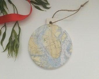 Charleston Peninsula Map Ornament
