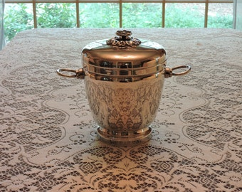 Estate Vintage Sheffield Silver-Plated Ice Wine Champagne Bucket - Dented Lid, Discolored Interior - Re-Purpose Up-Cycle Re-Use