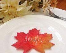 Thanksgiving Place Card, Thanksgiving Table Name Card, Leaf Place Card, Dinner Place Card, Calligraphy Leaf, Fall Wedding Escort Card