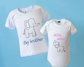 Big Sister Big Brother Little Sister Little Brother Matching Outfit - BABYGROW & T-SHIRT with Elephant
