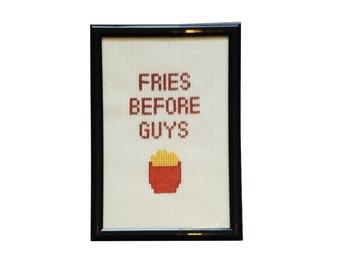 Fries Before Guys framed cross stitch