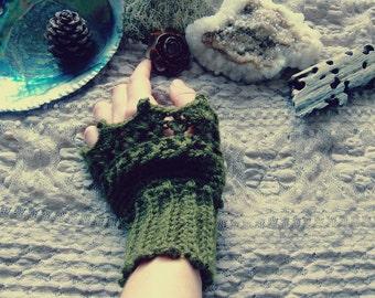 Handmade Crochet Wrist Warmers  in Forest Green