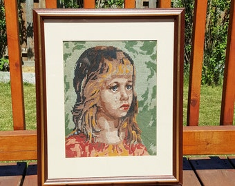 FRAMED EMBROIDERY , hand embroidery, embroidery art, cross stitch embroidery, vintage embroidery, living room decor, bedroom decor, vintage