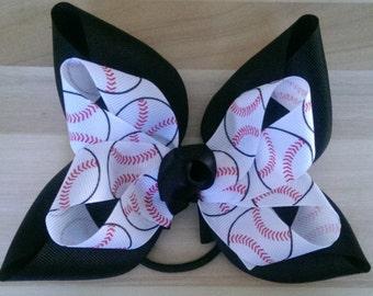Baseball Hair Bows (1each)