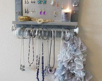 wall jewelry organizer - weathered grey stain - space saver