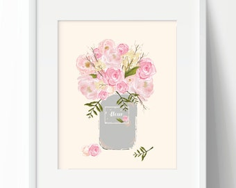 Floral Bouquet Print, Digital Print, Printable Art, Instant Download, Wall Art, Home Wall Décor, French Print, French Style, Pink Rose Print