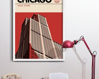Chicago Print, Graphic Travel Poster