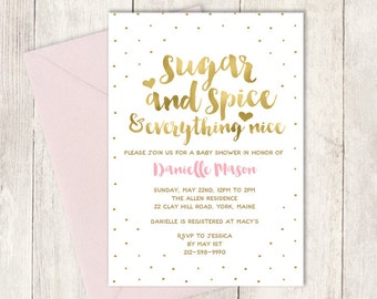 Pink Baby Shower Invitation DIY / Sugar and Spice / It's a Girl Baby Shower / Gold Polka Dot / Gold and Blush Pink ▷ Invite Printable PDF