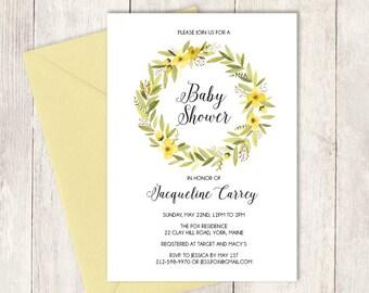 Yellow Baby Shower Invitation DIY / Watercolor Wreath / Yellow Flower / Watercolor Flower Wreath, Whimsical Lettering ▷ Invite Printable PDF
