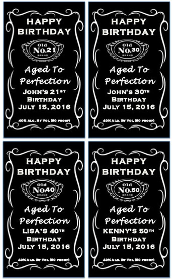 Birthday Jack Daniels Label Whiskey Favor Party Gift by ...