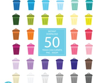 50 Rainbow Trash Can Clip art, Digital illustrations PNG, garbage bin, recycle, rubbish Clipart, Planner Stickers