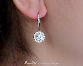 1.20 Carat Center Dangling Halo Earrings-Brilliant Cut Diamond Simulants-Bridal Earrings-Wedding Earrings-925 Sterling Silver [8706]
