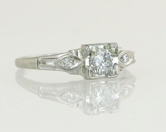 Antique Vintage Estate Art Deco .30ct Genuine Diamond 18K White Gold Engagement Ring 2.1g
