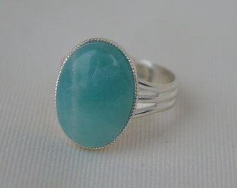 Amazonite ring,gemstone ring,silver plated ring,adjustable ring,statement ring