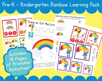 R for Rainbow Printable Preschool Pack U for Umbrella Curriculum Homeschool Pre-K - Instant Download PDF