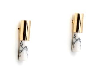 White Marble Bar Earring,  Minimalist Earrings, Gold Bar Marble Earring, White Howlite Earring, Geometric Bar Linear Earring, Stud Earring