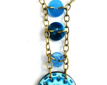 BLUE BUTTON PENDANT: Decoupaged button pendant with smaller blue buttons, decoupaged jewelry,button jewelry, monchromatic colours