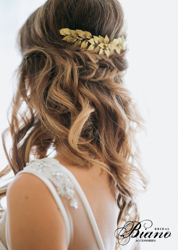 Gold Leaf Bridal Hair Comb, Wedding hair Comb, Rustic Woodland, Bohemian Head Piece, Boho Hairpiece, Grecian Leaves, Gold Leaves Headpiece